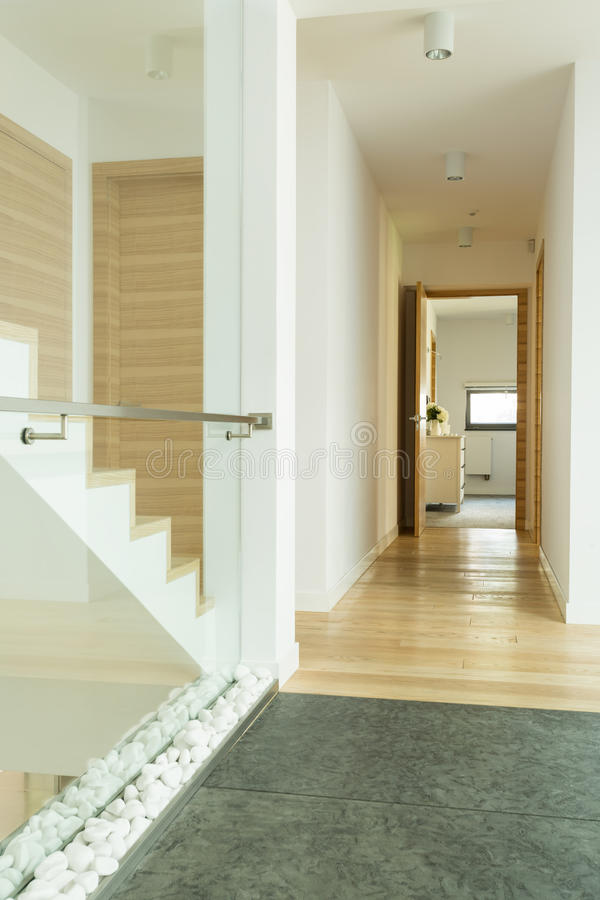 Free Wooden Corridor With Stairs Royalty Free Stock Images - 82187039