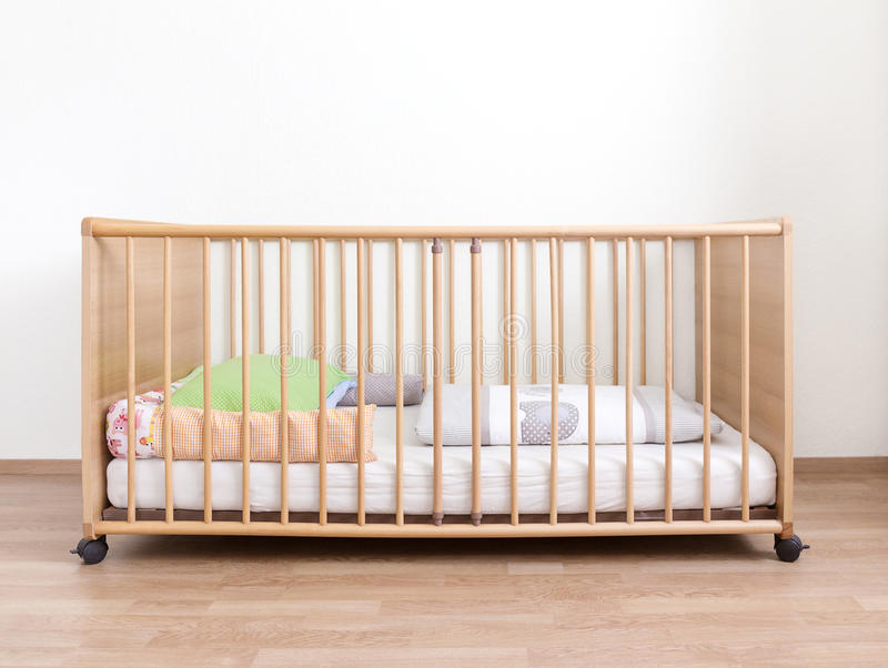 Wooden cot stock photography
