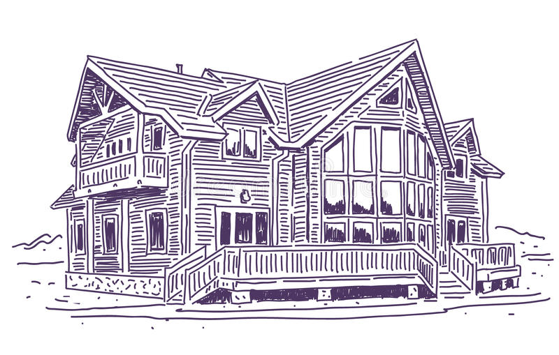 Wooden cottage. House simple vector drawing stock illustration
