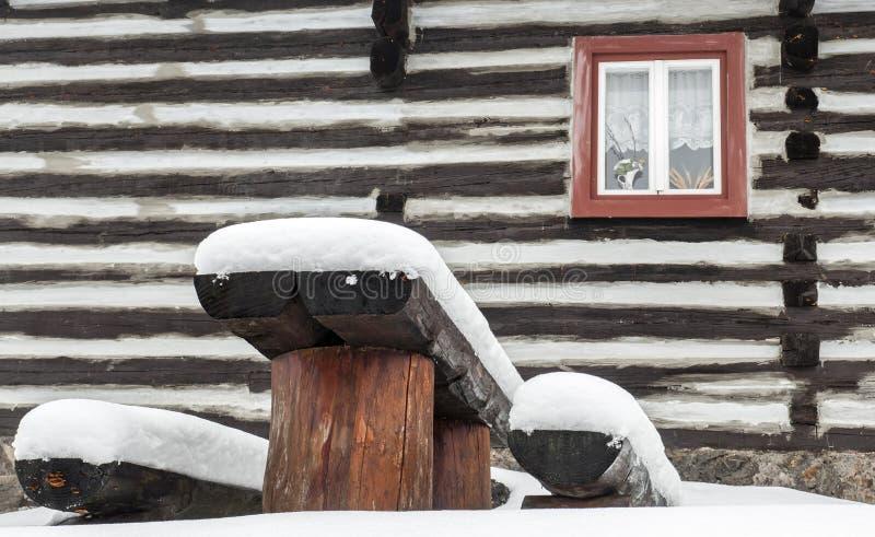 Wooden cottage in village Vlkolinec, Slovakia stock image