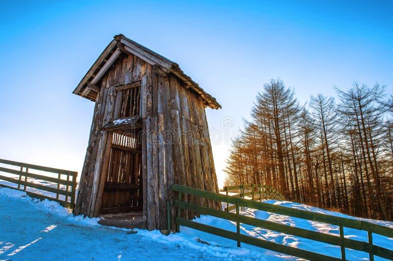 Wooden cottage in winter. Daegwallyeong Sheep Farm in Gangwondo, South Korea. stock photo