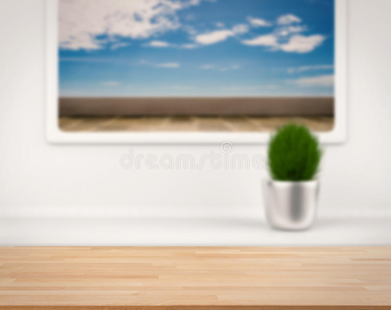 Wooden counter with terrace view from window. Wooden counter with terace with blue sky view from window stock photo