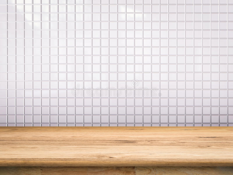 Wooden counter with white tile background royalty free stock photos