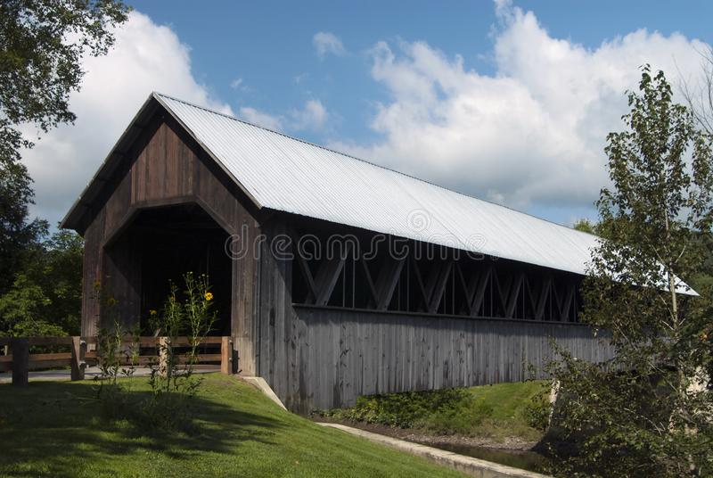 Wooden Covered Bridge in White Mountains of New Hampshire stock photos