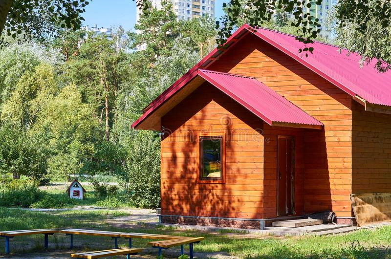 wooden cozy house for rest in the city park royalty free stock image