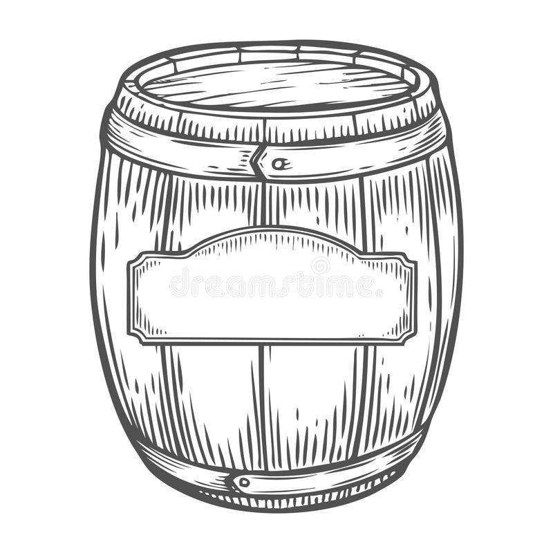 Wooden craft beer, whiskey, wine alcohol barrel with label. Brown vintage engraved stock illustration