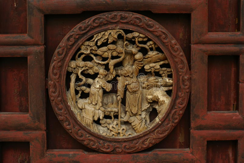 Wooden Craft of a Chinese Story stock photo