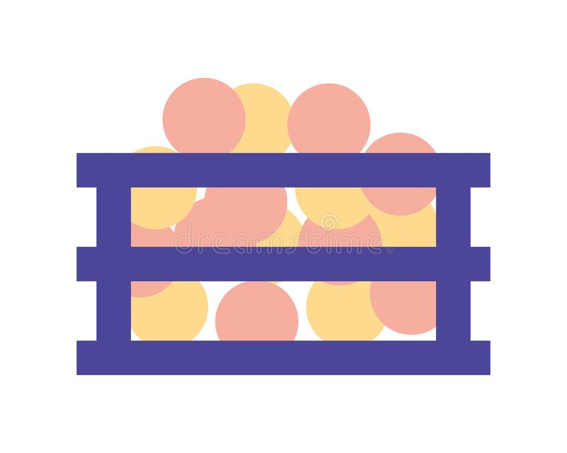 Wooden crate with oranges isolated icon. Vector illustration design royalty free illustration