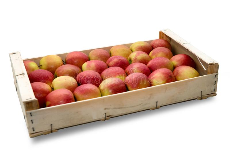 Wooden crate with red and yellow apples, on white background. Wooden crate with red and yellow apples, isolated on white background stock photos