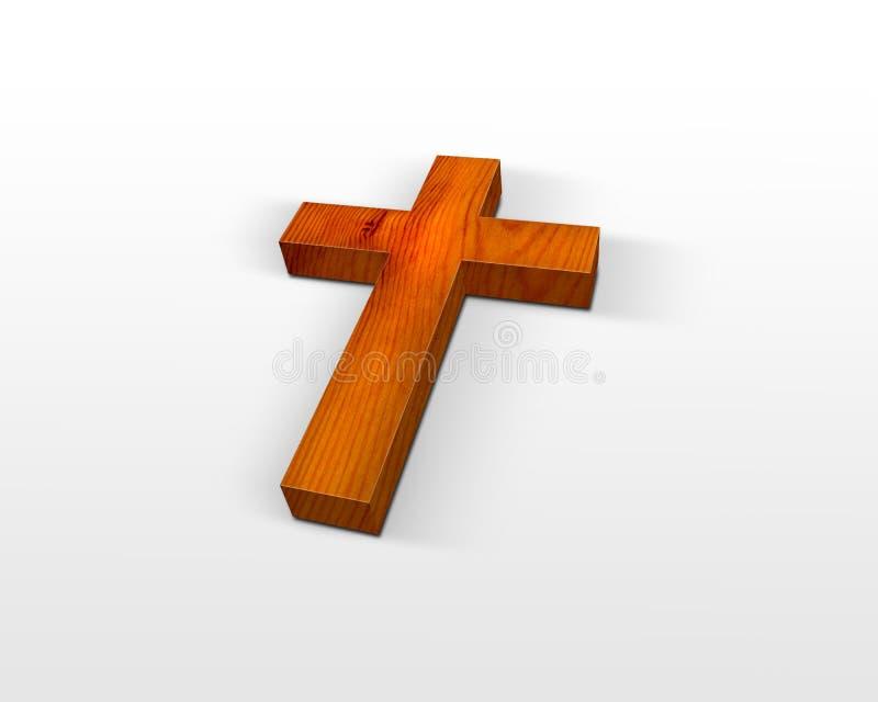 Wooden cross. Wooden christian cross isolated on white stock illustration