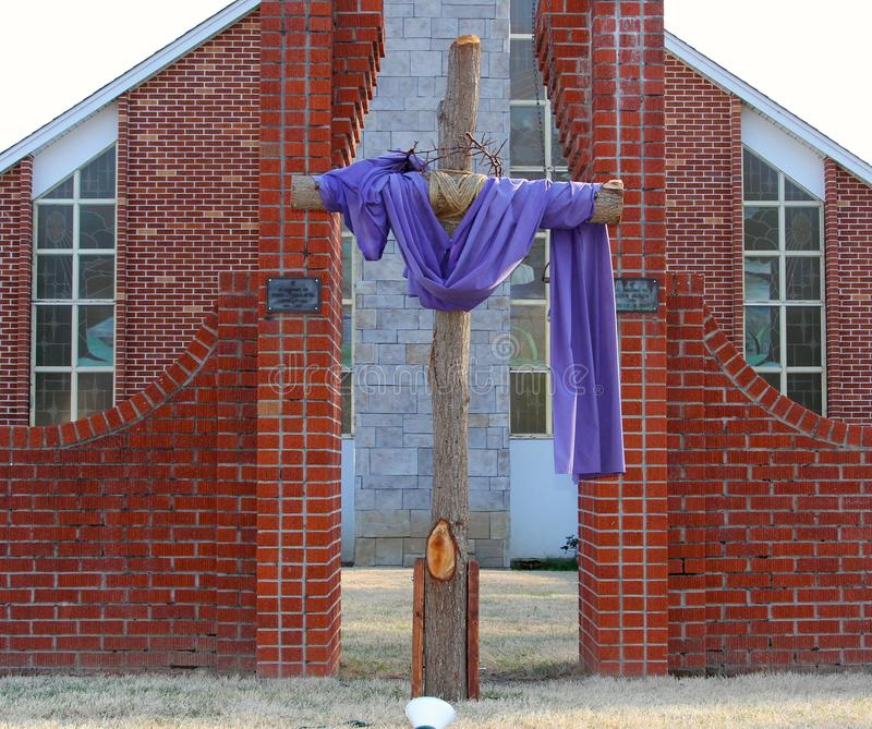 Wooden Cross Crucifix. Prepared for Easter Service royalty free stock photography