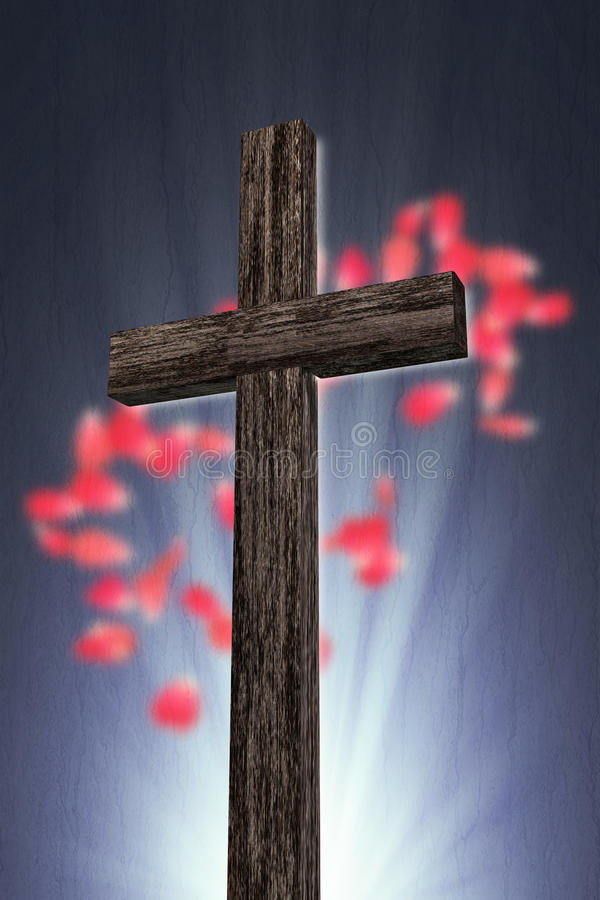 Wooden cross. 3d illustration of a wooden cross royalty free illustration
