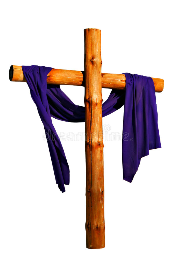 Wooden Cross Isolated. Wooden Cross with Purple Cloth Isolated royalty free stock photography