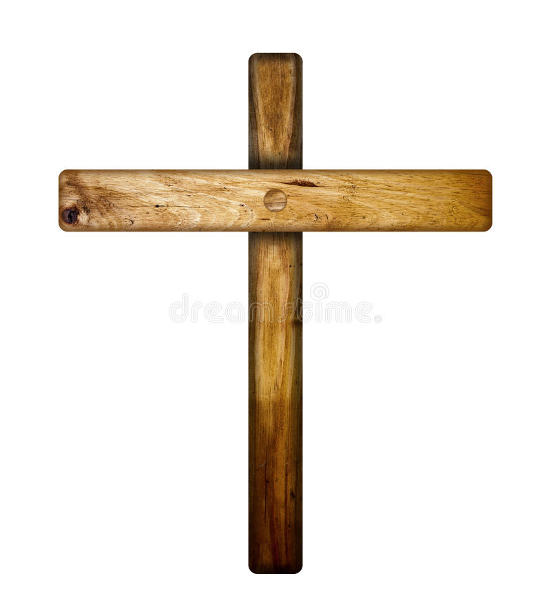 Wooden cross. A wooden cross isolated on a white background royalty free stock images