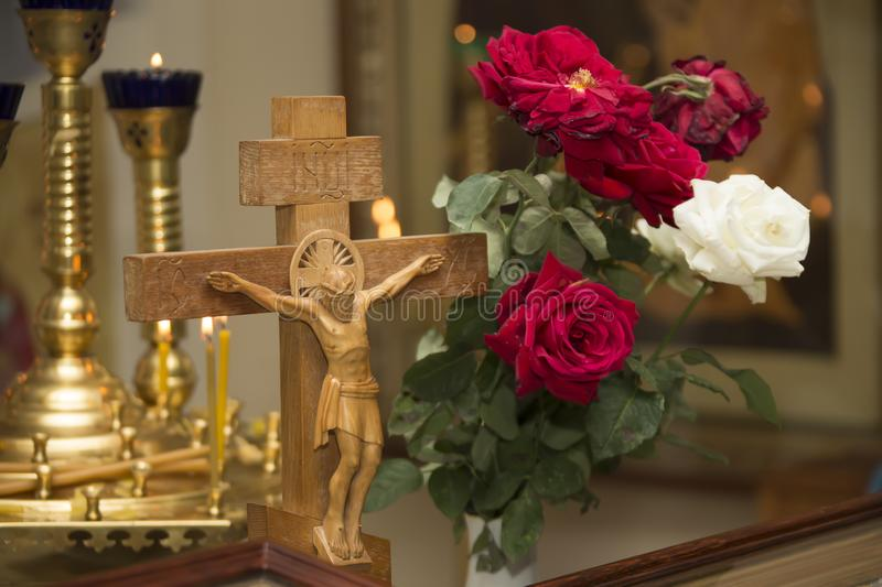 Wooden cross with jesus. Decorated Church Altar royalty free stock image