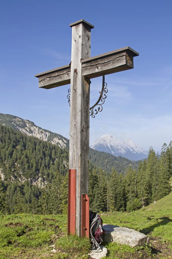 Wooden cross in Karwendel royalty free stock image