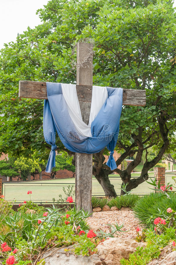 Wooden cross with thorn crown. In Riversdale, South Africa royalty free stock images