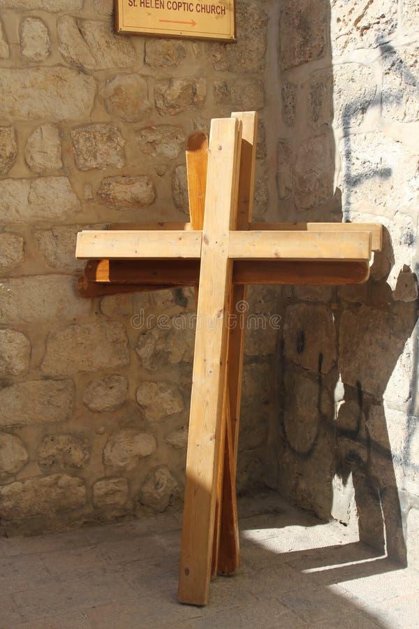 Wooden crosses, Via Dolorosa, Jerusalem, Israel stock photography