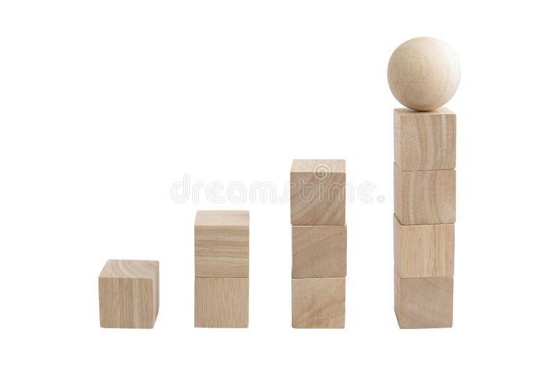 Wooden cube blocks and sphere with beautiful wood textured stock photography