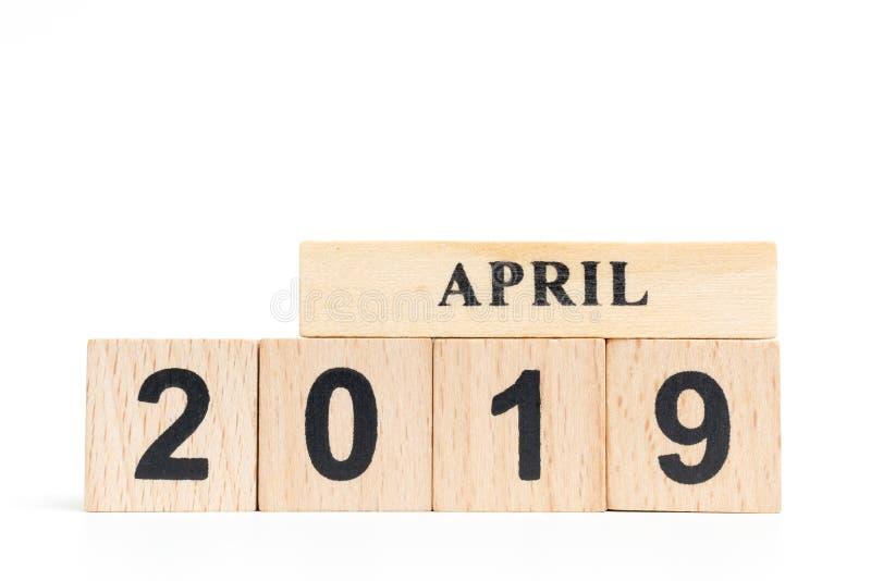Wooden cube calendar APRIL 2019 royalty free stock photo