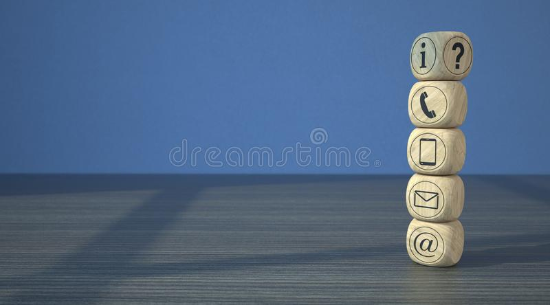 Wooden Cubes Contract Icons stock illustration