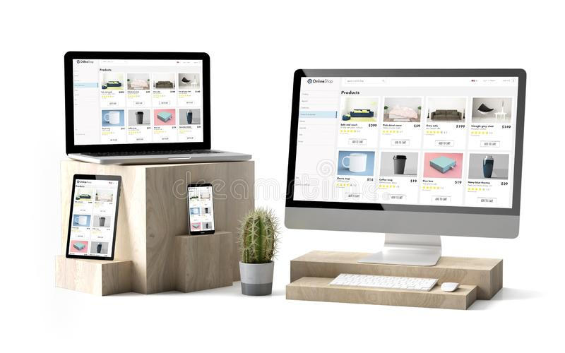 Wooden cubes devices isolated responsive eshop website. 3d rendering of isolated devices over wooden cubes showing responsive online shop website stock images