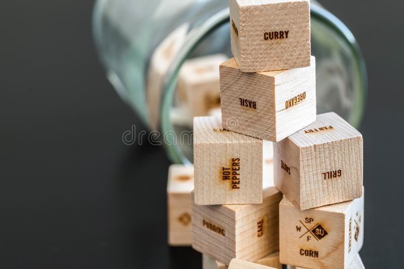 Wooden cubes with writings stock photography