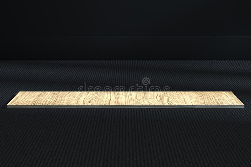 The wooden cubic platform in the dark room, 3d rendering. Computer digital drawing, center, industry, product, graphic, foundation, polygon, display stock illustration
