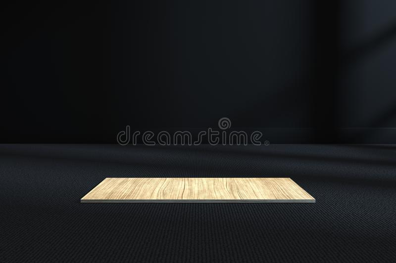 The wooden cubic platform in the dark room, 3d rendering. Computer digital drawing, center, industry, product, graphic, foundation, polygon, display vector illustration
