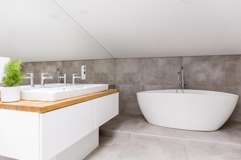 Bathroom with shaped bathtub royalty free stock images