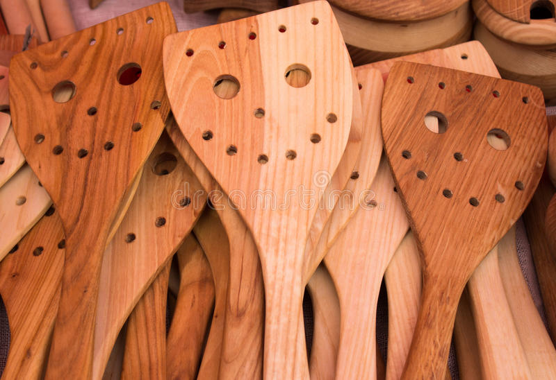 Wooden cutlery with copy space - Stock Image stock photography