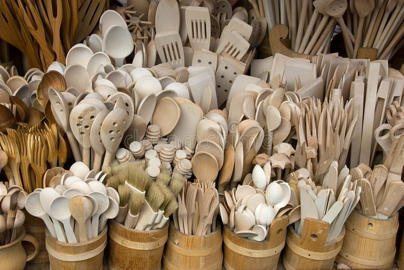 Wooden cutlery sold to tourists in Poland royalty free stock image