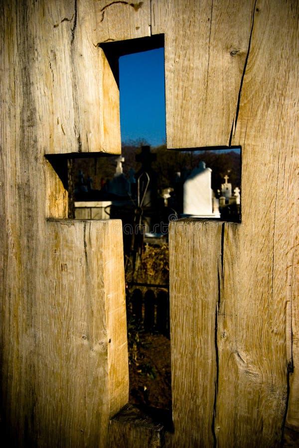 Wooden cutout cross stock photo