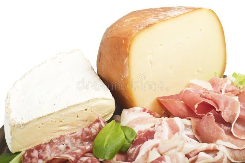 Salami and cheese stock photos