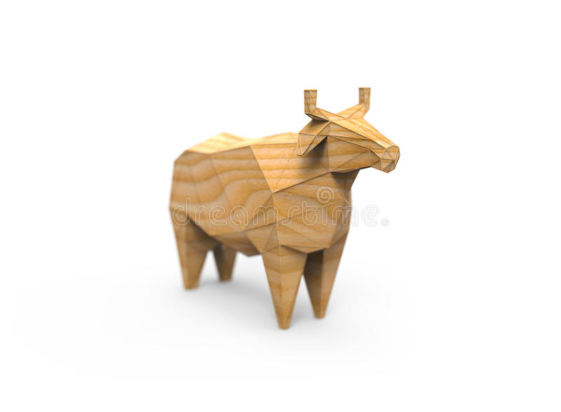 Wooden 3D polygonal illustration of cow figure royalty free stock photos