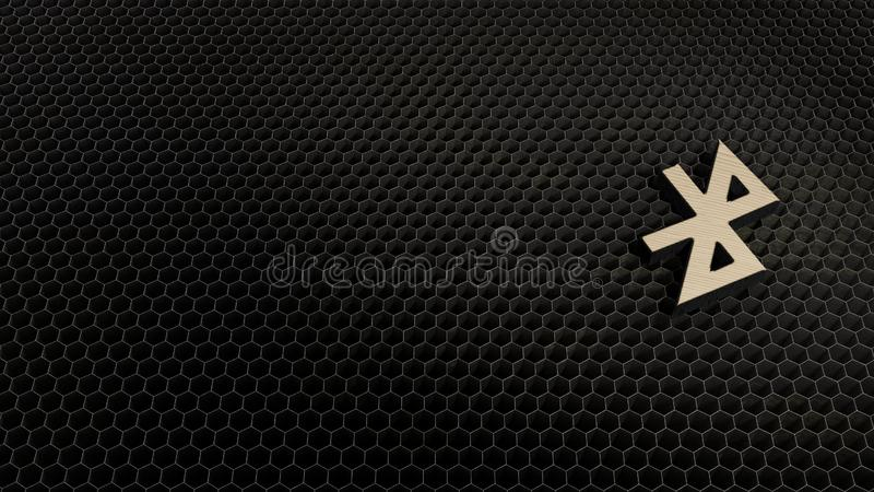 wooden 3d symbol of bluetooth icon render stock illustration