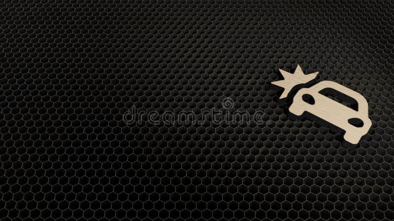wooden 3d symbol of car crash icon render royalty free illustration
