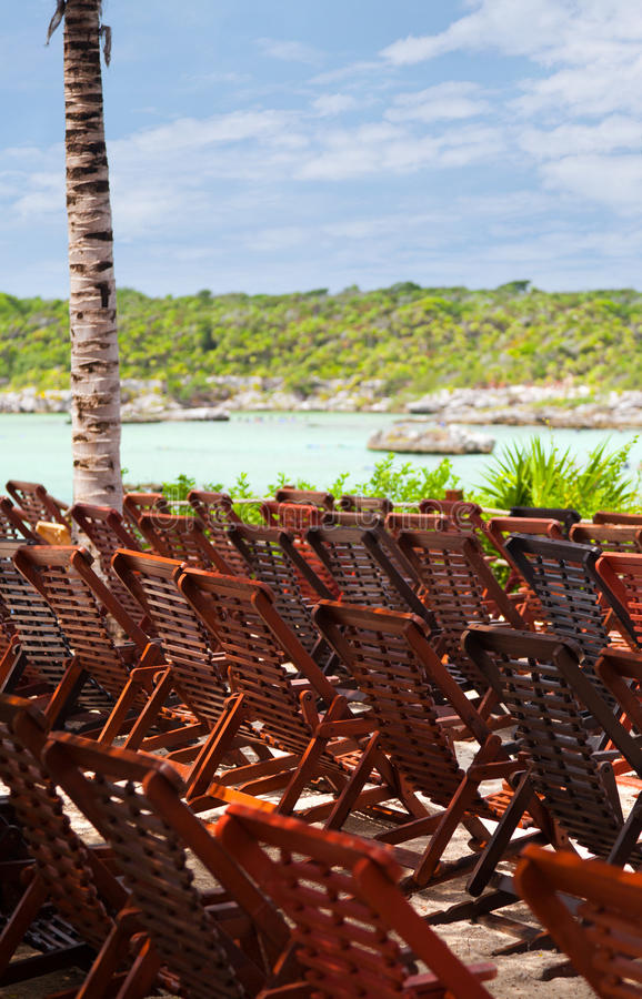 Download Wooden Deck Chairs In Caribbean Beach Stock Photo - Image: 26411290