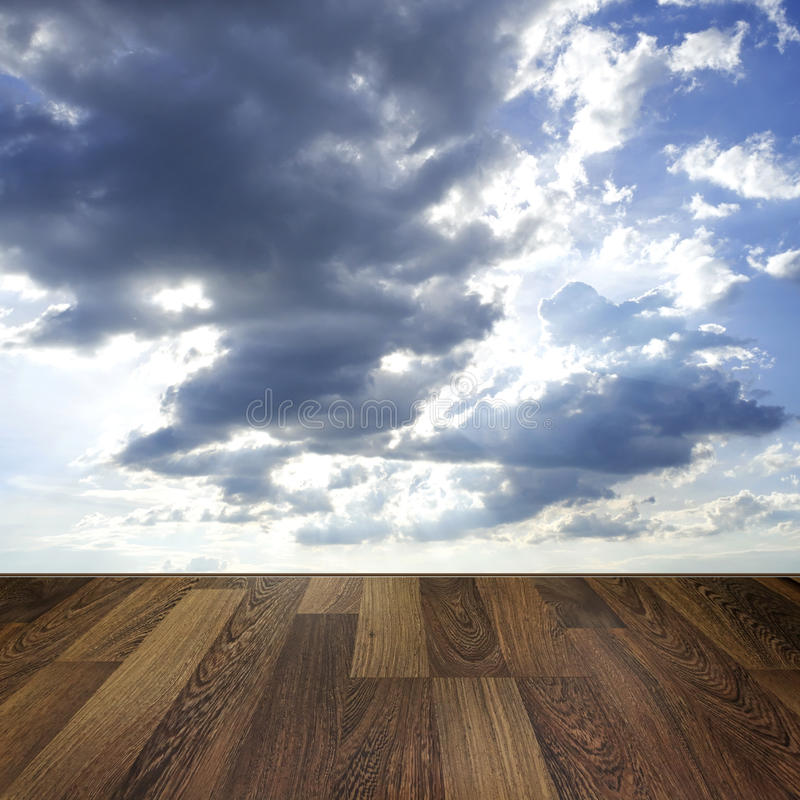 Download Wooden Deck Floor Over Blue Sky Background Stock Image - Image: 36582561