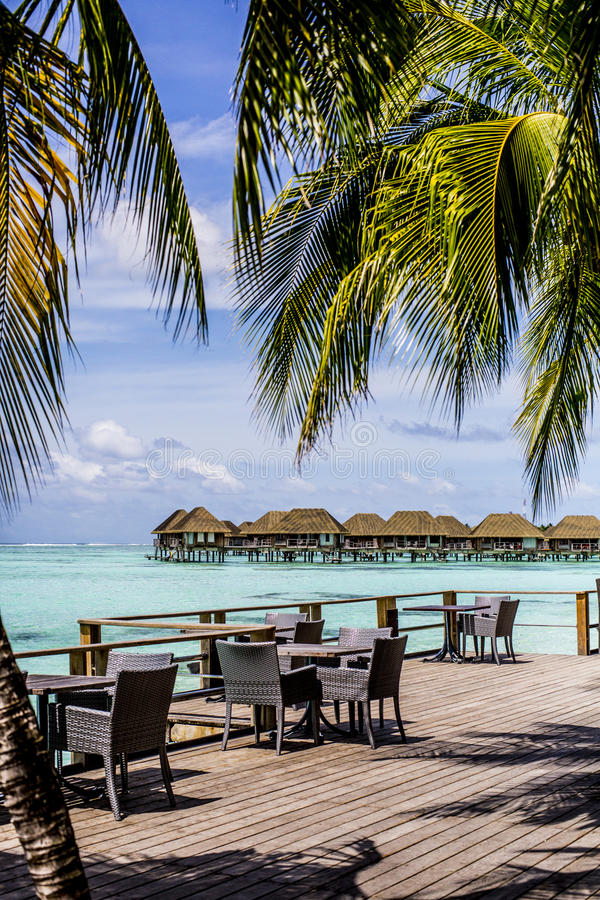 Download Wooden Deck With Table And Chairs, Maldives Stock Image - Image of deserted, cafe: 75985023