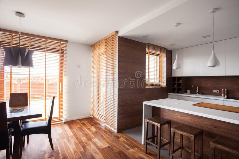 Wooden decorations and furnitures stock photo