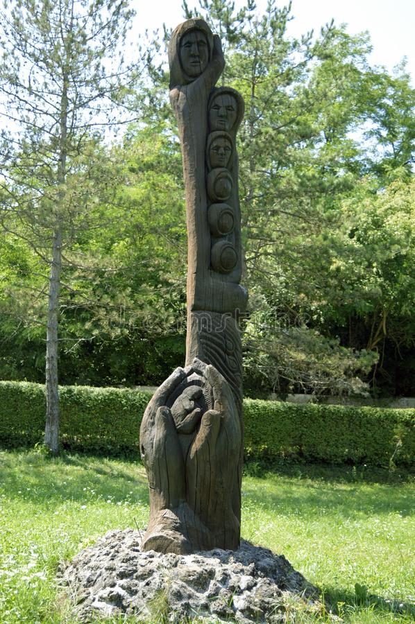 Wooden decorative sculpture in park. stock photography