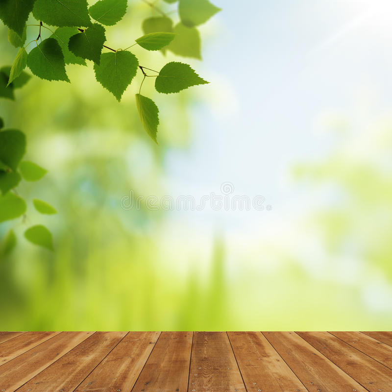 Free Wooden Desk Against Beauty Natural Backgrounds Royalty Free Stock Photos - 37488908