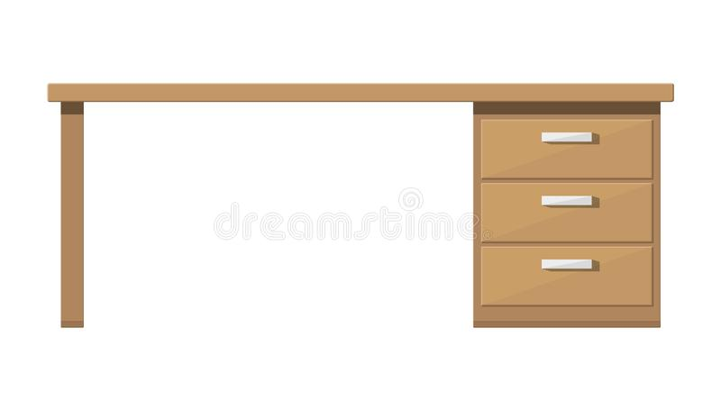 Wooden desk with drawer. Brown table with lockers. Workplace and paperwork. Office working furniture. Vector illustration in flat style royalty free illustration