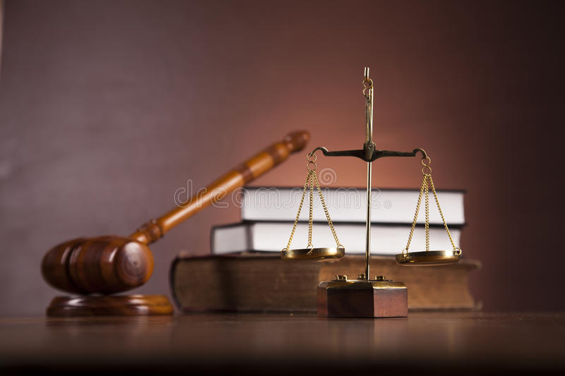 Wooden desk in a law firm stock photography