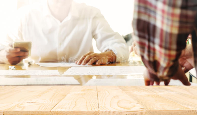 Wooden desk space platform royalty free stock photography