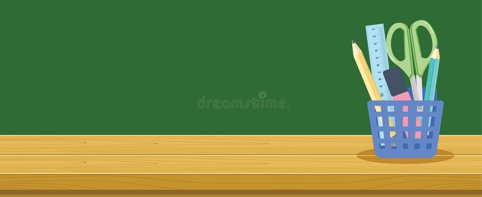 Wooden Desk And Stationery Basket For School Students, Education Background Banner Concept royalty free illustration