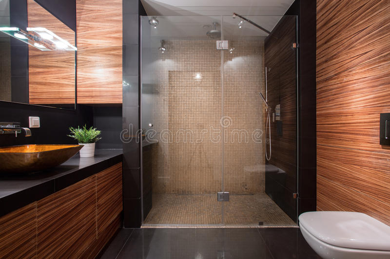 Wooden details in luxury bathroom royalty free stock image