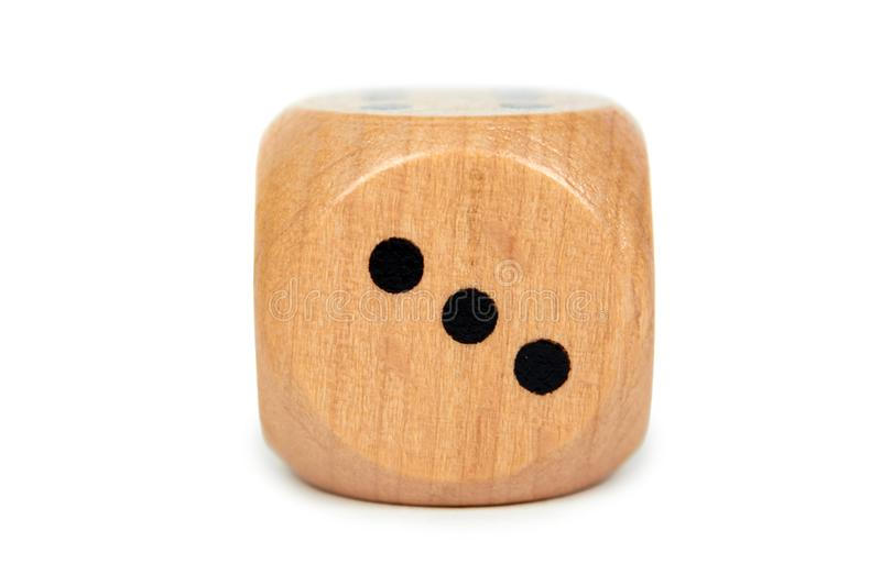 Wooden dice isolated on white background, Macro image royalty free stock images