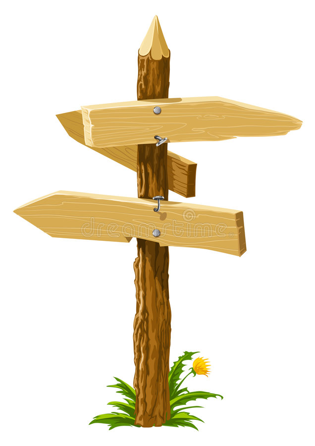 Wooden direction arrows on the crossroads royalty free illustration